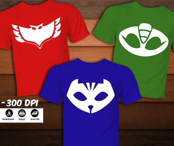 SET Pj Masks Iron on Transfer emblem T-Shirt-Printable Pj ...