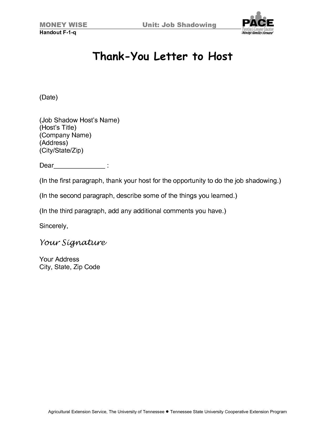 You Can See This Valid Thank You Letter Format For Job Shadow At