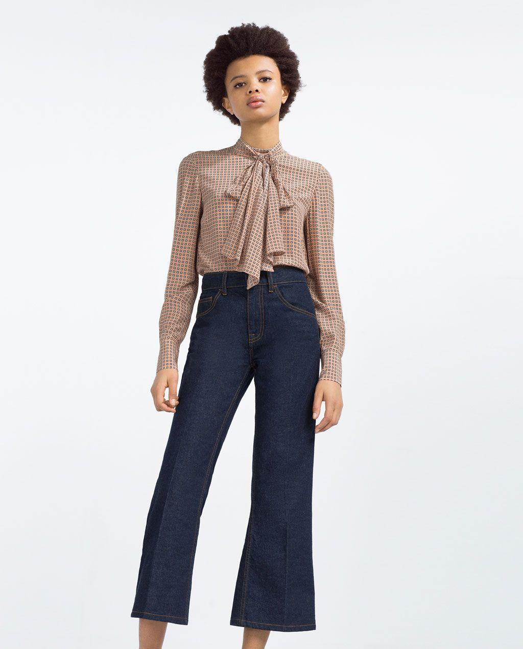 15ff0104cf4489 Tie Blouse Zara