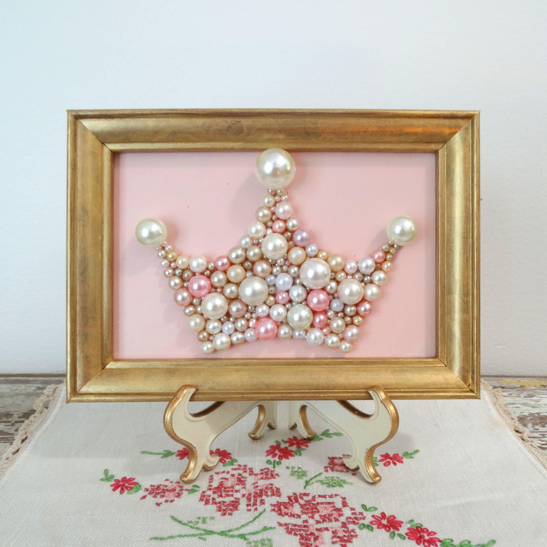 Pearl Princess Crown  Pink And Gold Nursery Art