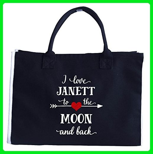 I Love Janett To The Moon And Back.gift For Boyfriend - Tote Bag - Top handle bags (*Amazon Partner-Link)