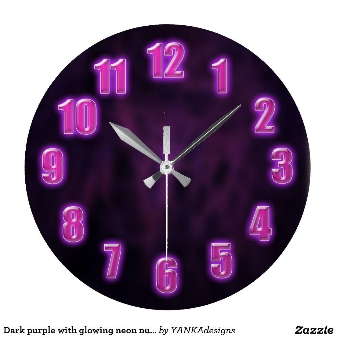Dark Purple With Glowing Neon Numbers Large Clock