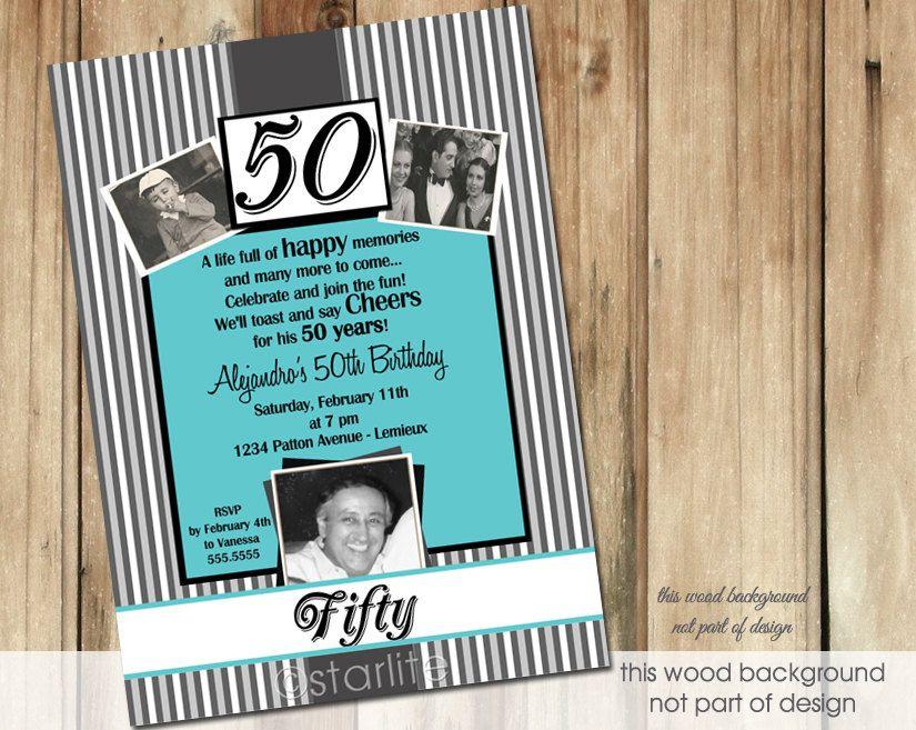 Men's Milestone Birthday Invitation Photo Birthday