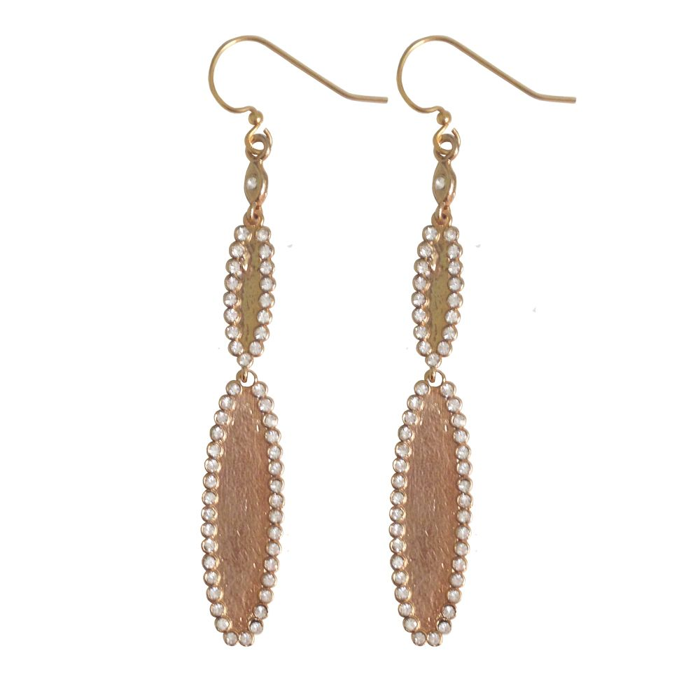 Elise Earrings  Beautifully edged double oval stone earrings add either a little sparkle or color to your day.