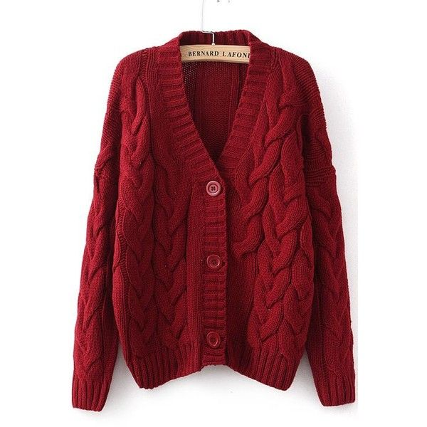 Wine Red Long Sleeve Cable Knit Cardigan ❤ liked on Polyvore ...