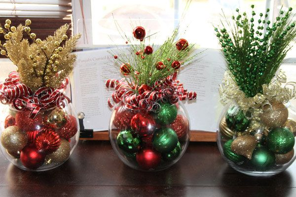 Christmas centerpiece set of four centerpieces