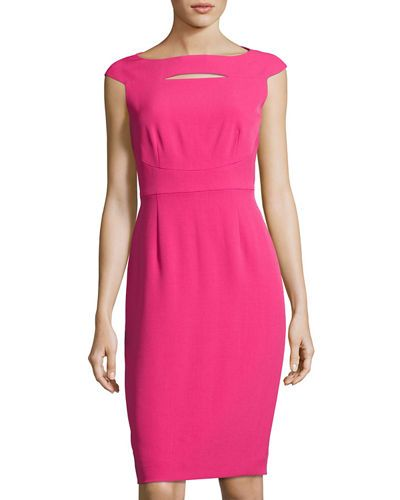 Cap-Sleeve Cutout Crepe Sheath Dress