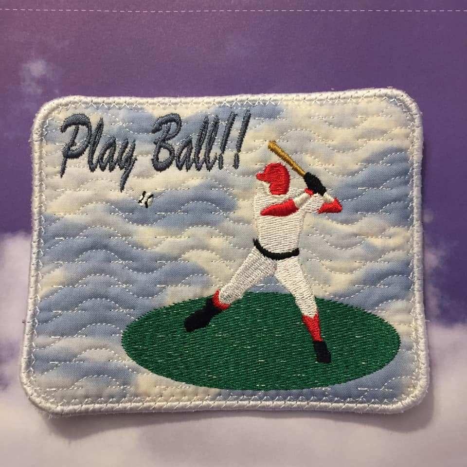 Don's Den Baseball ITH in the hoop mug rug in 2020