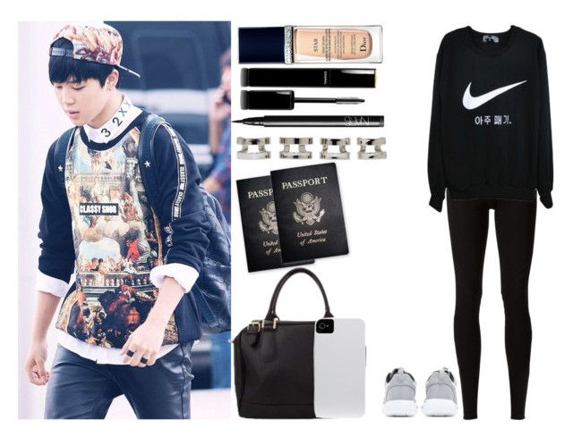 """""""Airport W/ Jimin xxx"""" by elena-peggy ❤ liked on Polyvore featuring Rick Owens Lilies, NIKE, Maison Margiela, NARS Cosmetics, Passport, Chanel, Case-Mate and Christian Dior"""