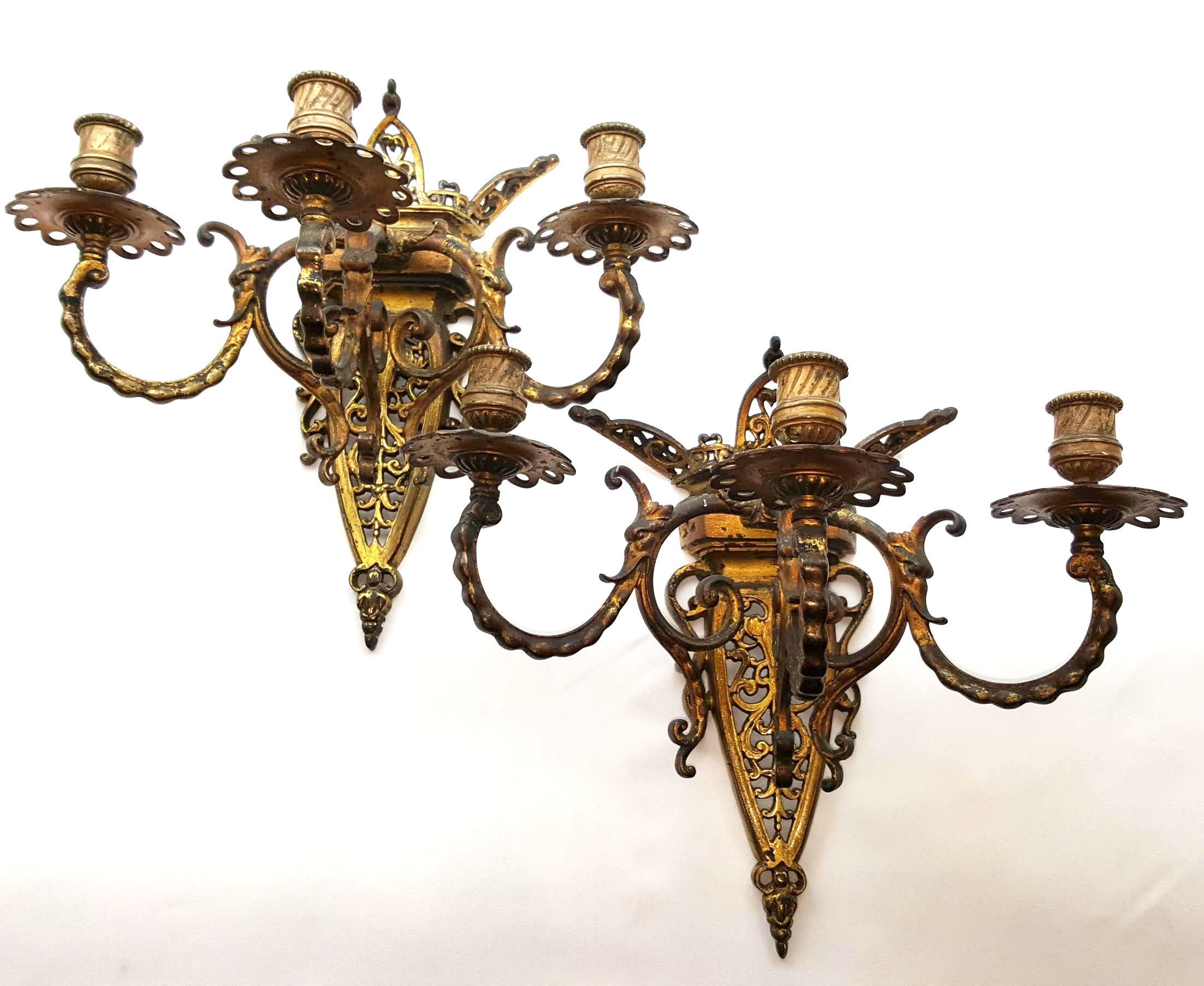 19th Century Pair Gilt Brass Wall Candle Sconces Antique Gothic Style 3 Arm Ormolu Decorative Lights Possibly French Interior Design Wall Candles Candle Wall Sconces Candle Sconces