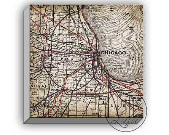Old Chicago Map Print, Rustic Wall Art, On Canvas, Wall Art, Chicago Map On  Canvas, ...