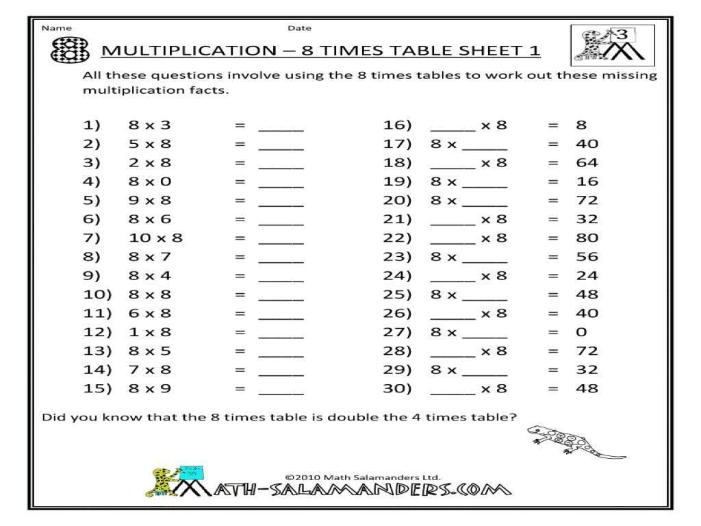 Multiplication Worksheets Printable Grade 8