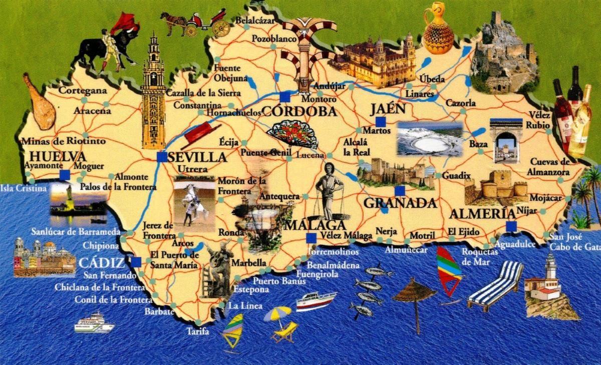 Spagna Andalusia Cartina.Mappa Andalusia Cartina Andalusia Andalusia Viaggi