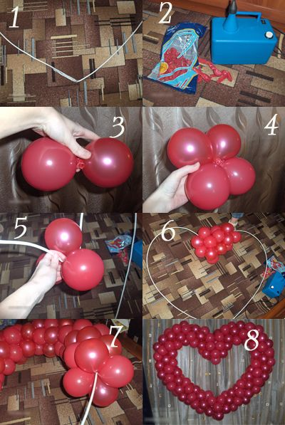 Своими руками сделать сердце из шариков