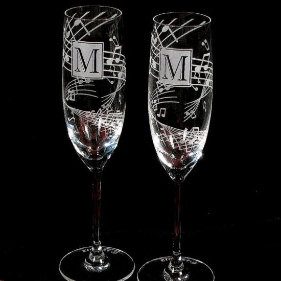 Music Wedding Toasting Flutes Fine Crystal. Anniversaries too? I want them!