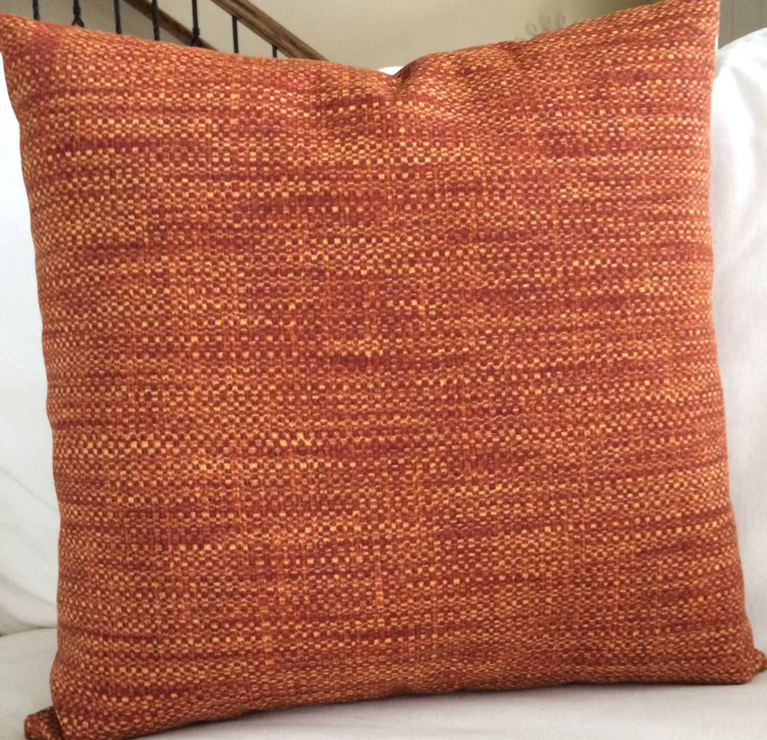 Rust Red Orange Cayenne Outdoor Throw Pillow Cushion Cover Coastal