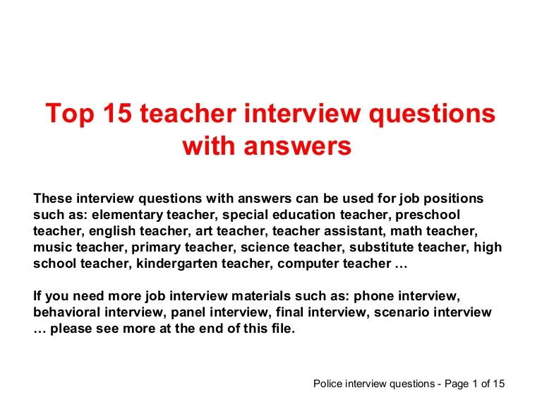 Top  Teacher Interview Questions And Answers And Other Job