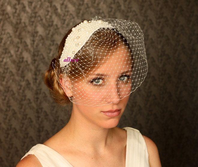 BIRDCAGE VEIL. Pearls headdress. Bridal veil. So charming fascinator, headpiece. Ivory, cream. $119.00, via Etsy.