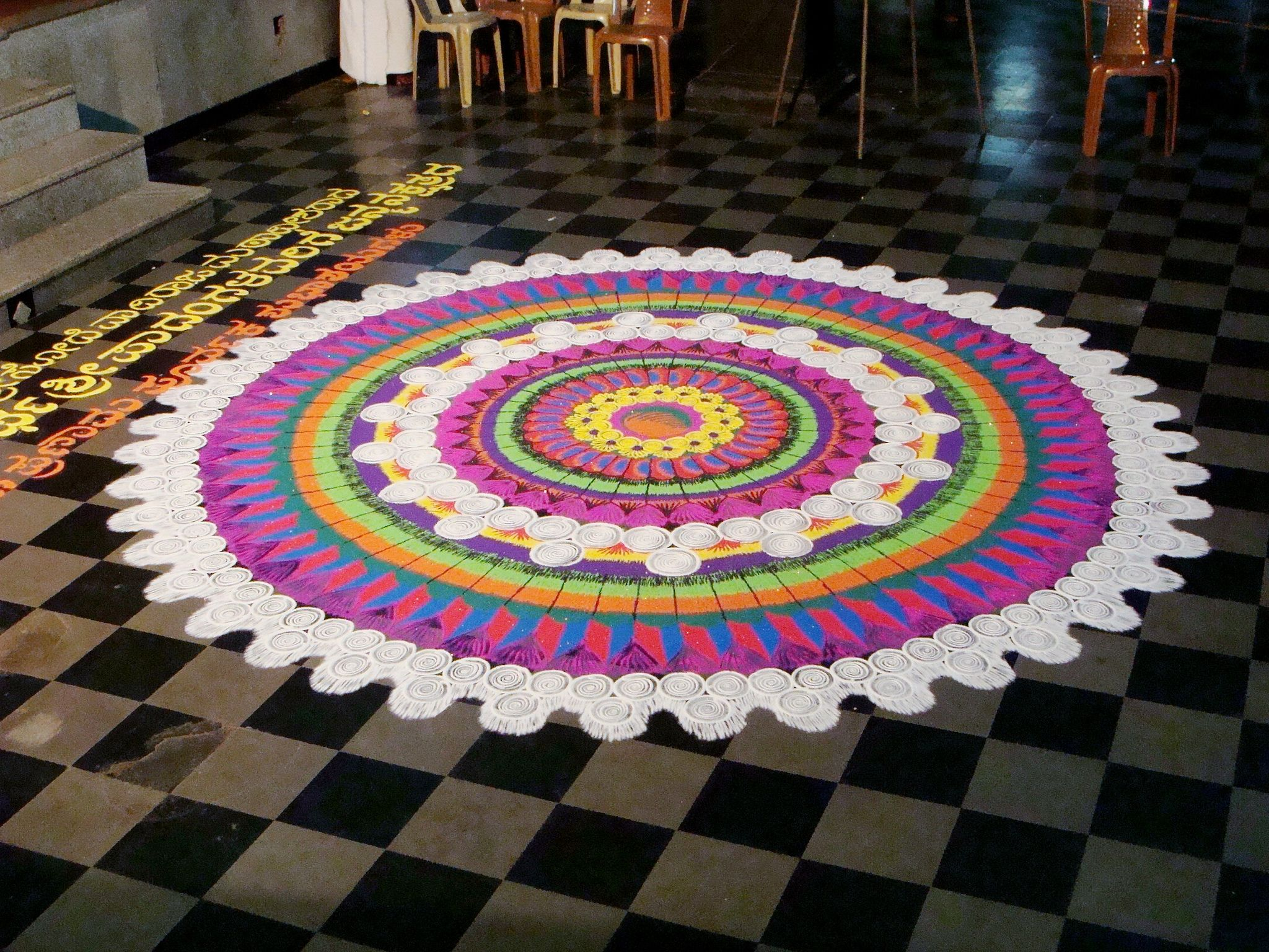 Rangoli at Udupi Krishna temple (1) di 2019 | Rangoli art