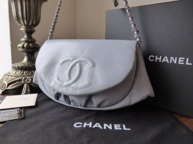 d0221e7bfddf48 Chanel Half Moon Wallet on Chain in Bleu Clair Caviar Leather - SOLD ...