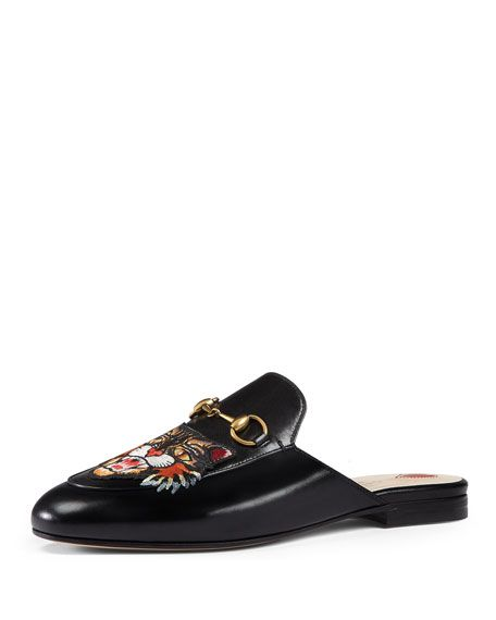 002b918d8f671 GUCCI Princetown Tiger-Embroidered Loafer Mule, Black. #gucci #shoes ...