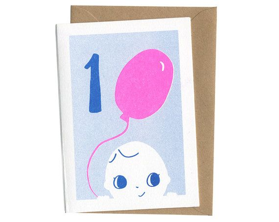 1st Birthday Card - First - Baby Card - Unisex Pink / Blue - Balloons - Risograph  Smalldotsdesign