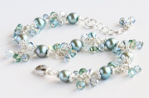 Seafoam Cluster Bracelet with light blue/green freshwater pearls, Swarovski crystals, and sterling silver. By OpheliasJewels, $52.00