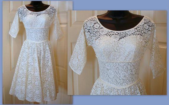VTG 1950s Lorrie Deb San Francisco Full Skirt Ivory by DazzleMyDay, on Etsy