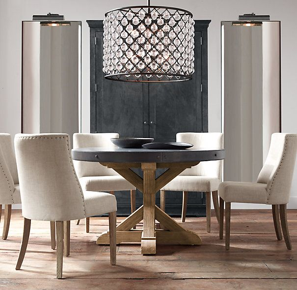 Salvaged Wood Concrete X Base Round Dining Table Round