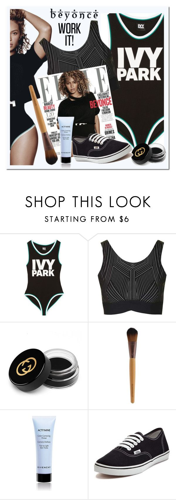 """""""Slay All Day: Style Beyonce's Ivy Park!"""" by ewa-naukowicz-wojcik ❤ liked on Polyvore featuring Ivy Park, Topshop, Gucci, Givenchy, Vans and Beyonce"""