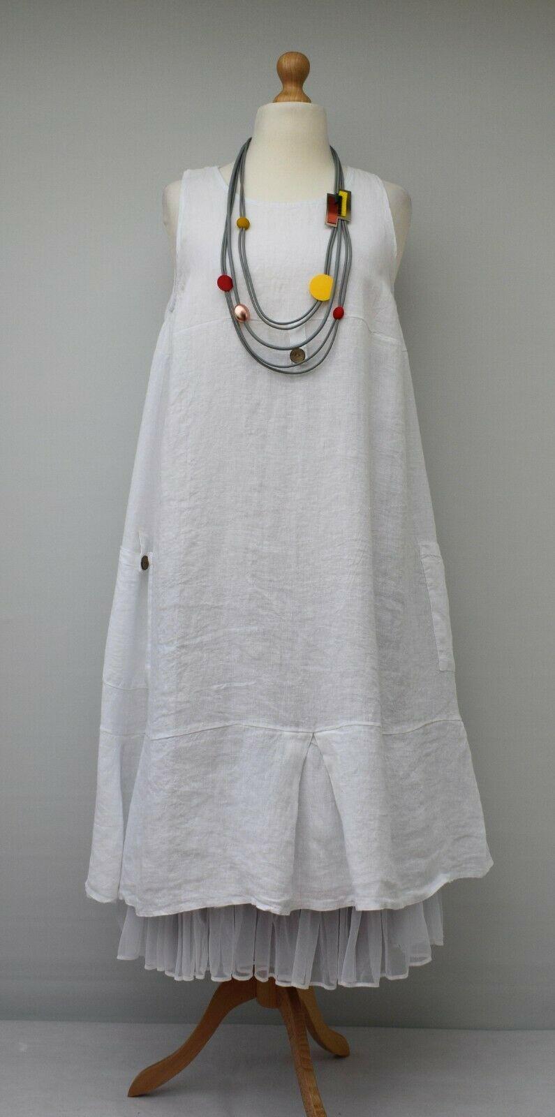Talla Grande Lino Línea A Liso Vestido Largo Blanco Busto Hasta 52 Cm Xl Xxl Vestidos Largos Ideas Of Vestidos Largos Vestidoslargos Fashion Apron