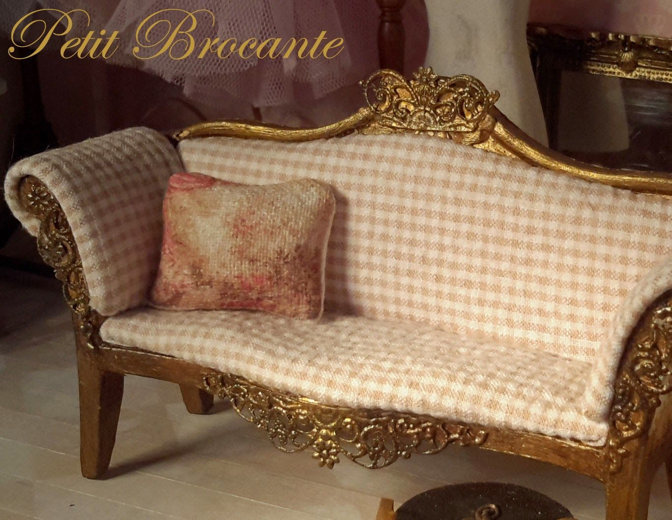 Miniature Sofa Baxton Studio Shelby Linen Modern Bed Playing With A Petit Brocante Miniatures