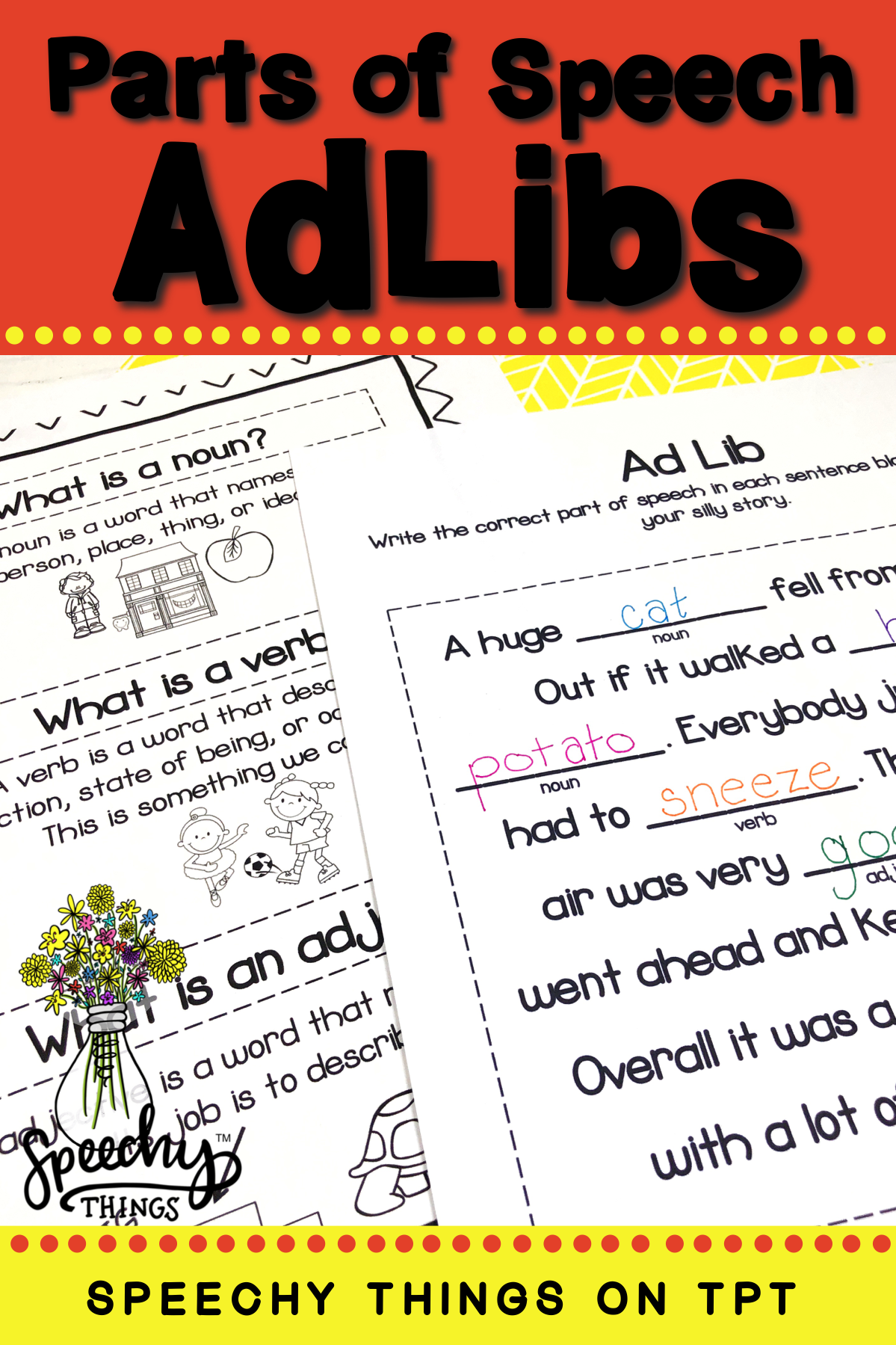 Parts Of Speech Activities For Speech Therapy Or Language Worksheets For The Classroom Fun A Part Of Speech Grammar Grammar Worksheets Nouns Verbs Adjectives [ 1799 x 1199 Pixel ]