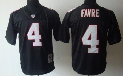 cheaper 56043 d089f Atlanta Falcons #4 Brett Favre Black Throwback Jersey | NFL ...