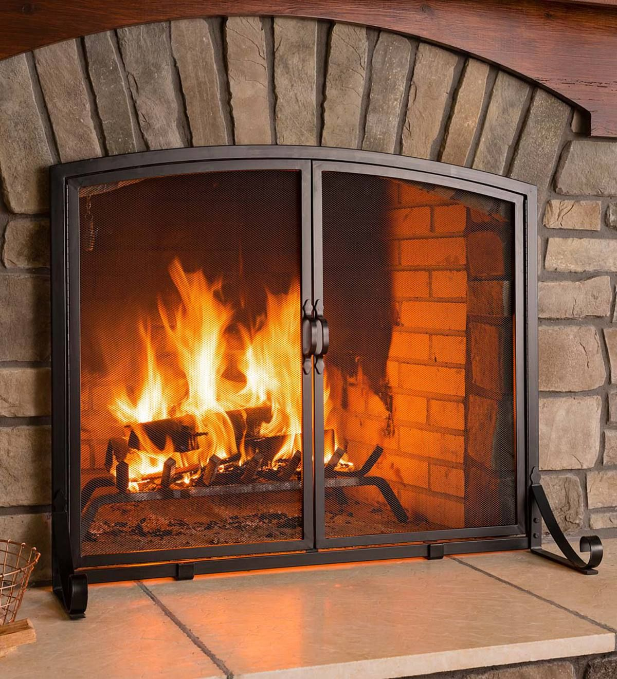 Handcrafted Of Solid Steel And Not Hollow Tubes This Classic Large Arched Top Flat Guard Firepl Fireplace Screens With Doors Fireplace Doors Fireplace Screens