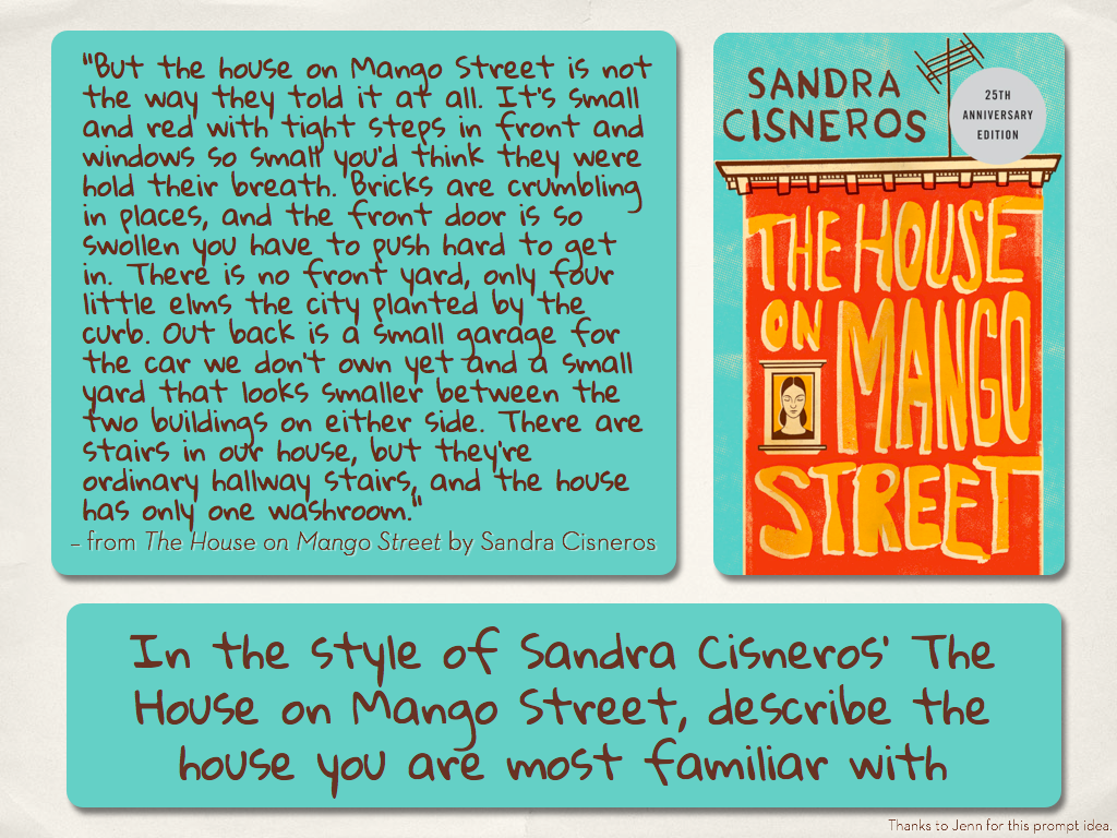 Writing Prompts The House On Mango Street Descriptive Writing Creative Writing Lesson