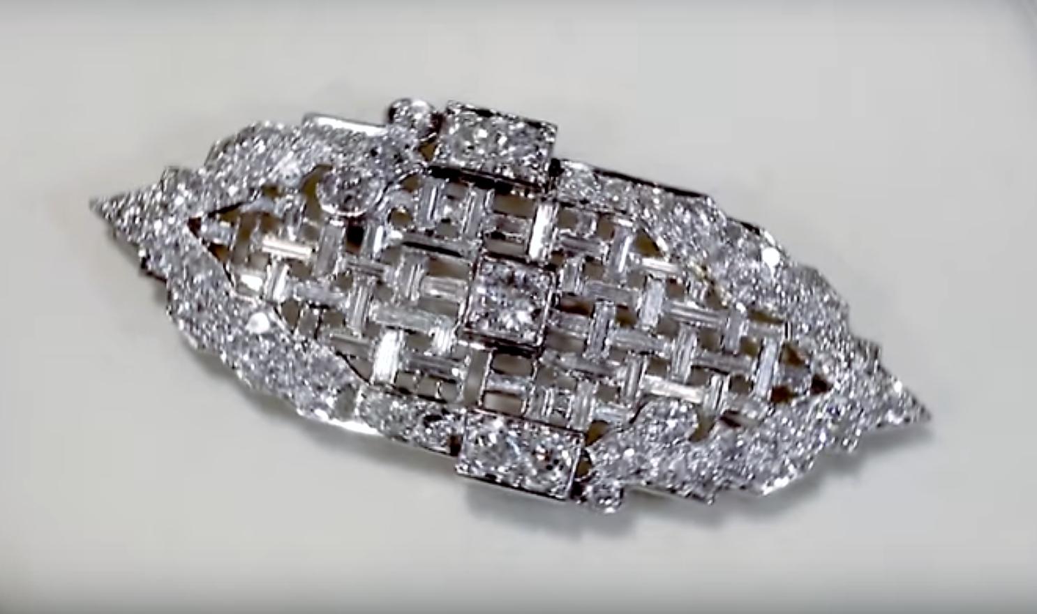 5.83 ct Diamond and Platinum Brooch - Art Deco - Antique Circa 1920 - AC Silver A4312