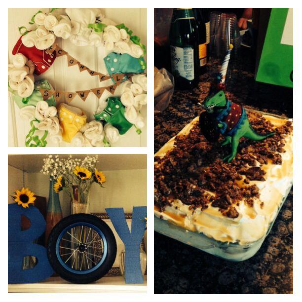 Baby Boy shower, cloth diaper wreath, best cake topper ever, boy vases