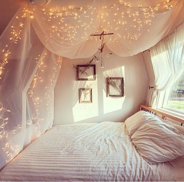 bedroom shabby chic netting floaty lights tea fairy twinkle white home sweet home pinterest. Black Bedroom Furniture Sets. Home Design Ideas