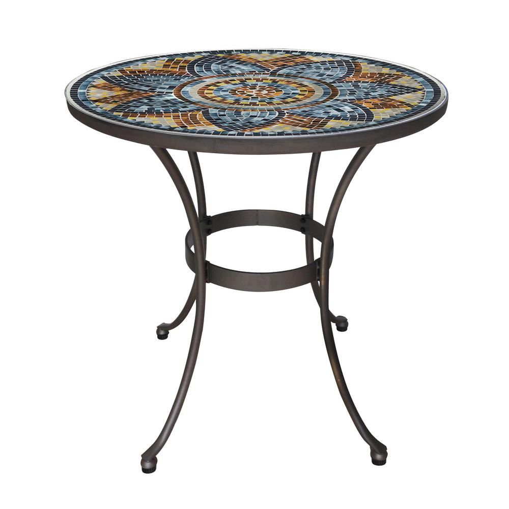 Hampton Bay 28 In Metal And Glass Mosaic Patio Bistro Table Hd19206 The Home Depot In 2020 Bistro Table Bistro Table Outdoor Mosaic Glass