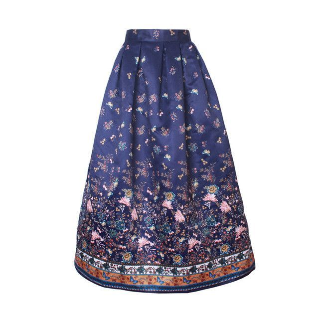 7ec5ce970f9c Skirts 23 Patterns Maxi Skirt Women Fashion Satin Flared Long Skirt Vintage  Retro Rose Floral Print Pleated Maxi Skirt SK064