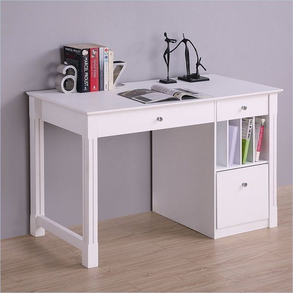 White Desk Student Storage Desk W Keyboard Tray Wood Computer Desk Writing Desk With Drawers Cheap Office Furniture