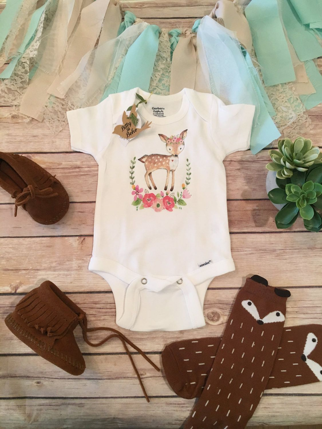 Baby Girl Deer Onesie or TShirt Boho baby girl bodysuit or tshirt with adorable hand drawn deer printed on the chest with a tiny heart and floral headpiece inside of a wa...