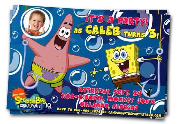 Spongebob Birthday Invitations Printable Personalized Party Invites