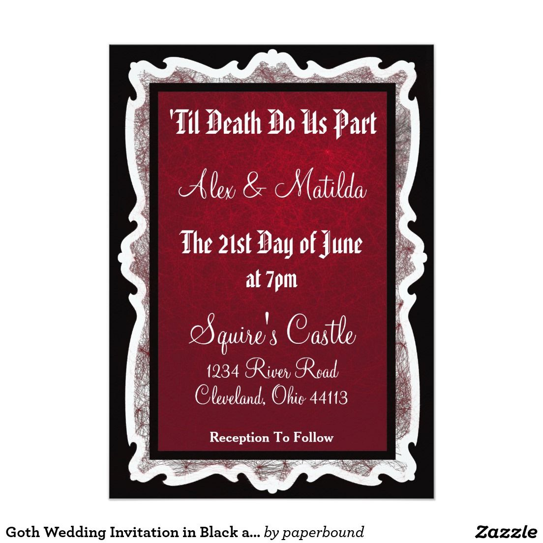 Goth Wedding Invitation in Black and Red