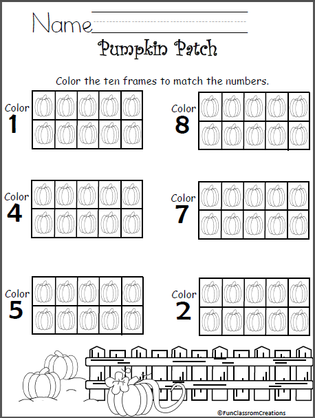 Color The Pumpkins Ten Frames - Math Numbers to 10 | Math numbers ...