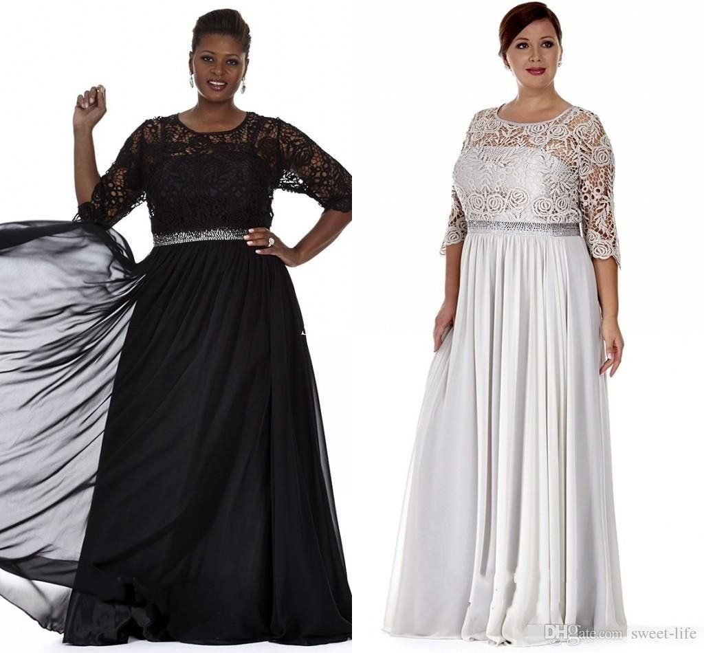 Black Silver Plus Size Mother Of The Bride Dresses With Lace