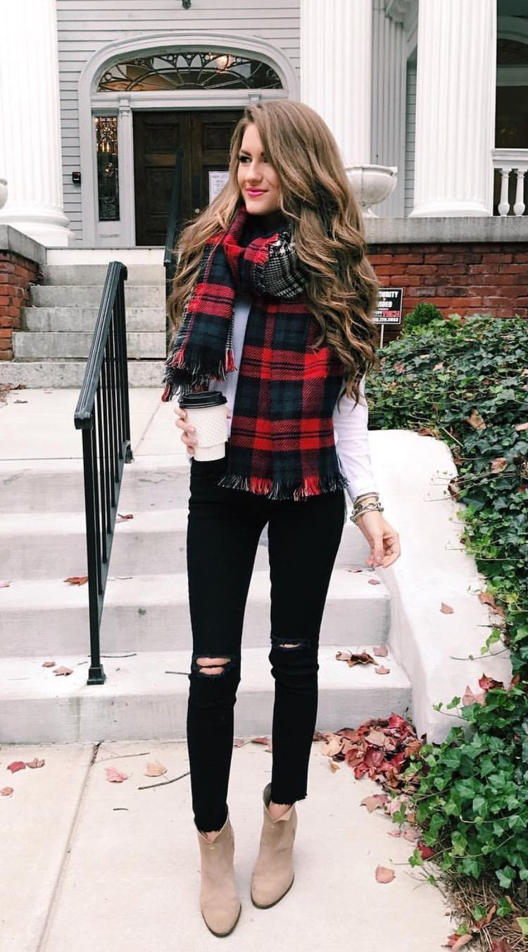 127987ddb071 A plaid scarf makes an ordinary jeans and booties look festive for Christmas  day!