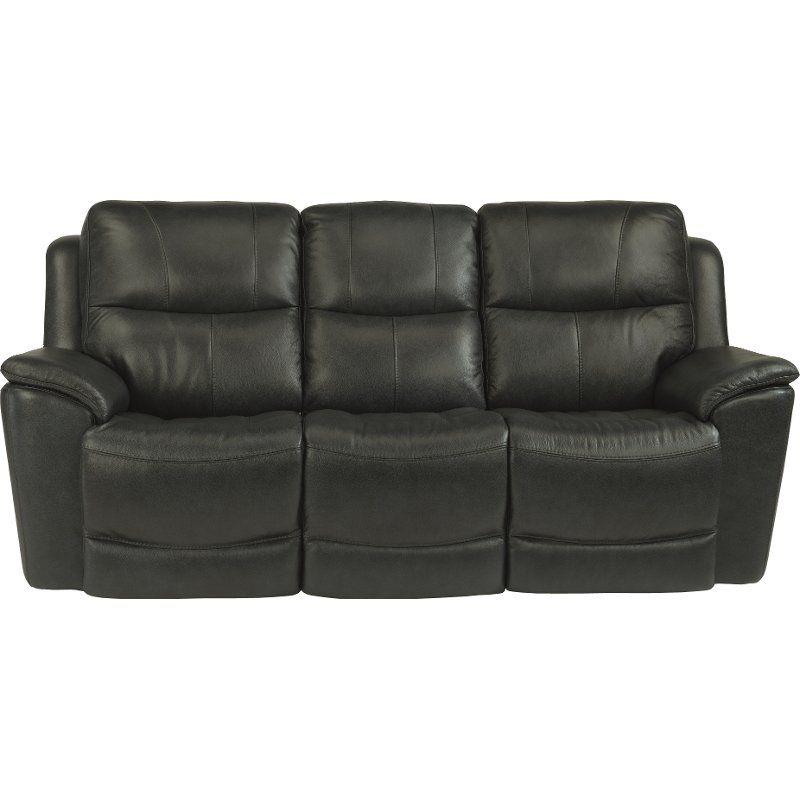 Best Dark Gray Blue Leather Match Power Reclining Sofa Cade 400 x 300