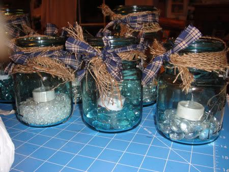 like the idea of the candle on the rocks but have burlap and lace ...